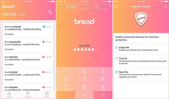 Bread Bitcoin Wallet iPhone and iPad App Screenshot