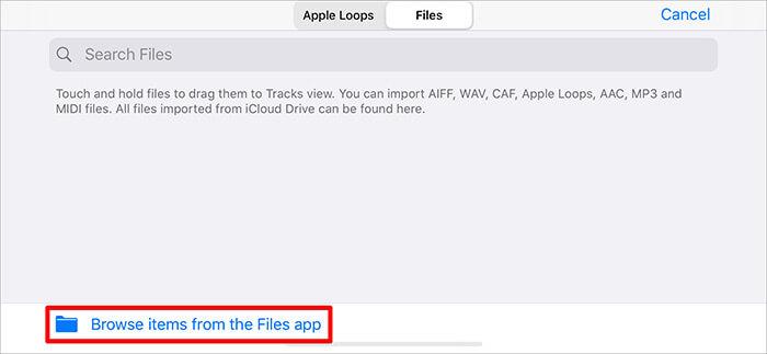 Durchsuchen Sie Elemente aus der Datei-App in der GarageBand-App auf dem iPhone
