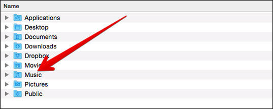 Browse Music Folder in Finder on Mac