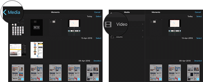 Browse Video in iMovie App on iPad