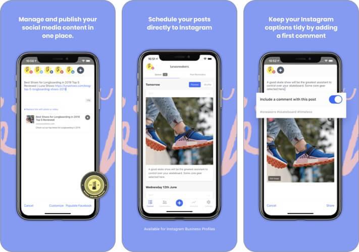 Screenshot der Puffer-Blogging-App