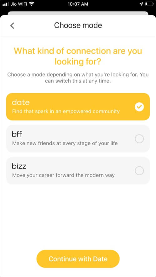 Bumble app modes bfff and bizz