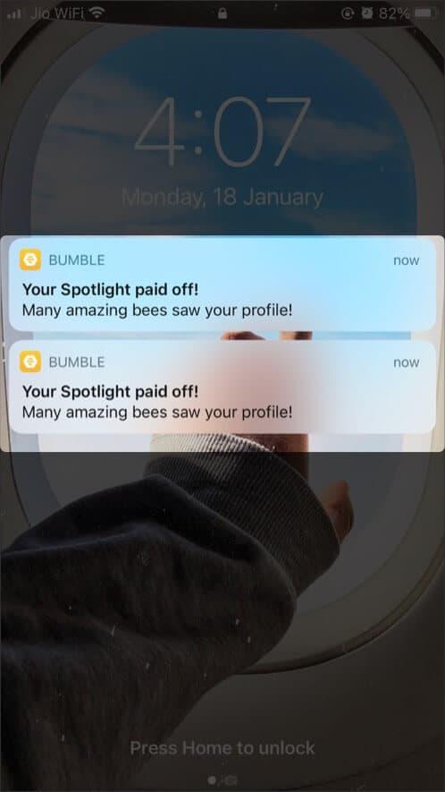 Bumble app push-up notifications