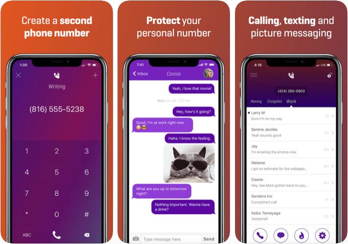 Burner Second Phone Number iOS App Screenshot