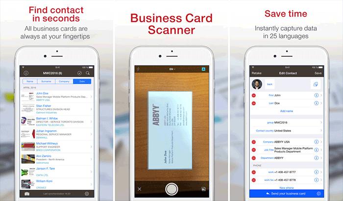 Business Card Reader Plus iPhone App Screenshot