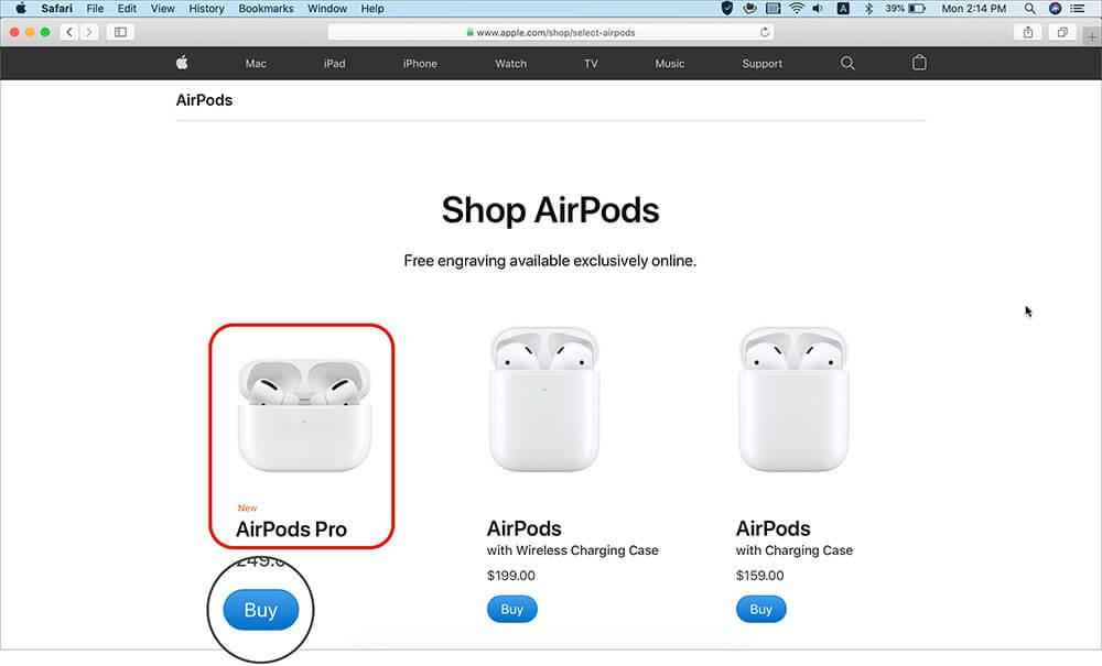 Buy AirPods from Apple Store on Mac