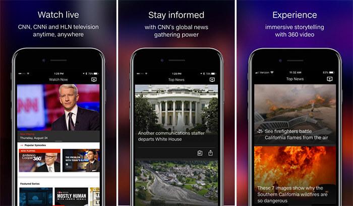 CNN News iPhone and iPad Ap Screenshot