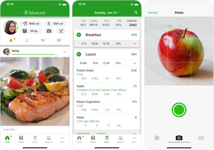Calorie Counter by FatSecret iPhone and iPad Diet App Screenshot