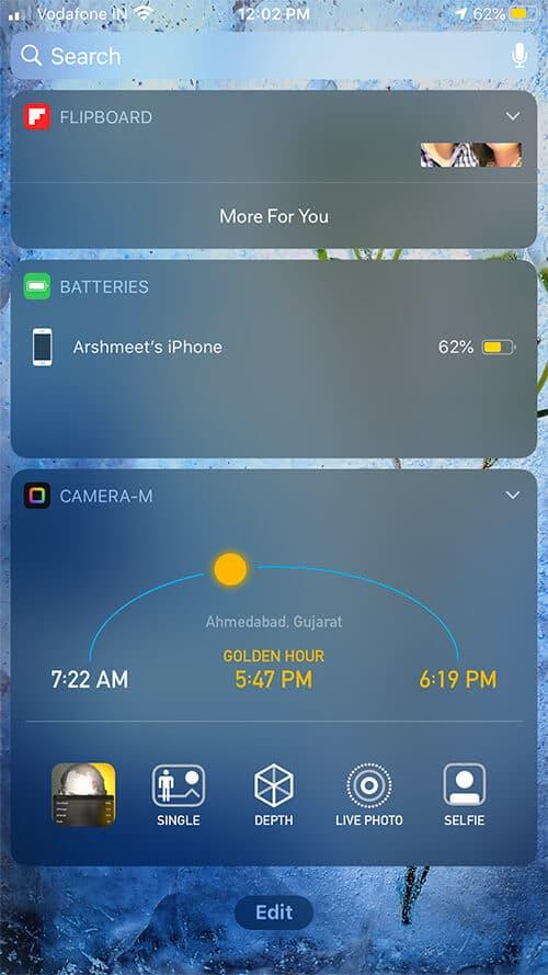 Camera-M App in Today's Widget on iPhone