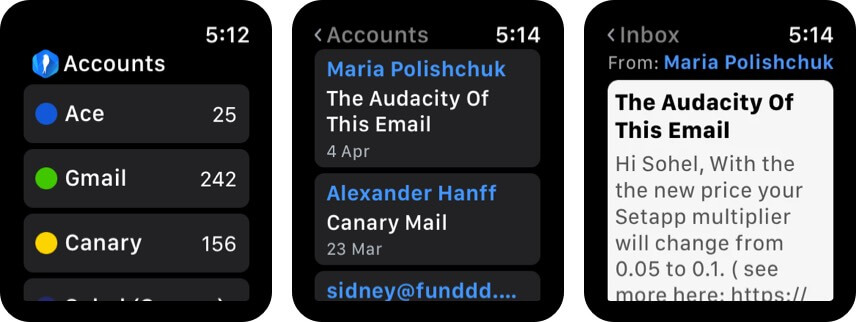 Canary Mail app for Apple Watch
