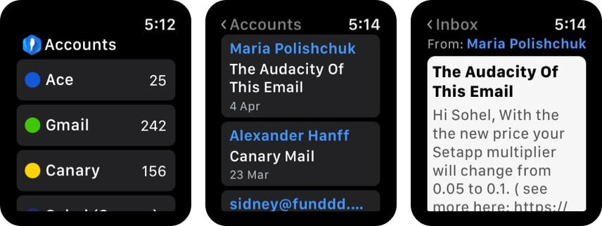 Приложение Canary Mail для Apple Watch