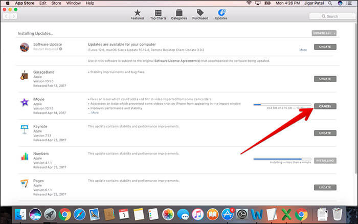 Cancle App Store Update and Download on Mac