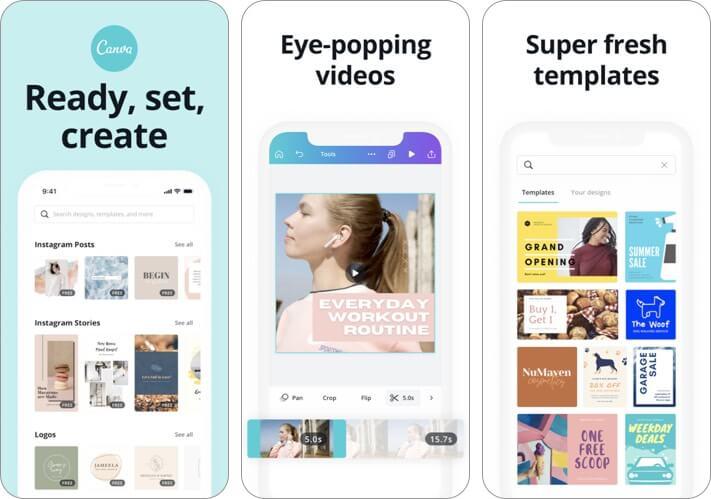 Screenshot der Canva-Blogging-App