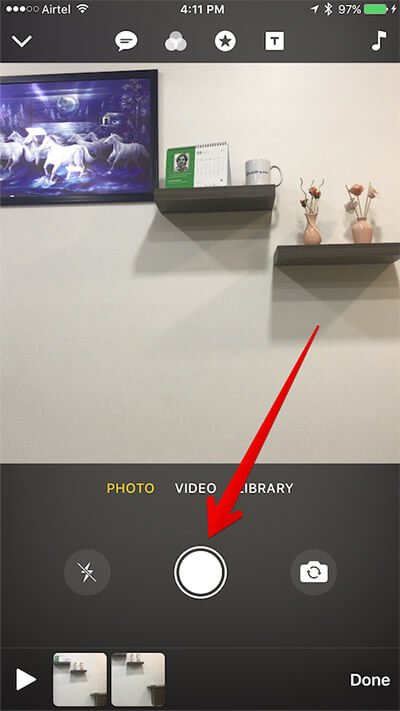 Capture Photo in Clips App on iPhone