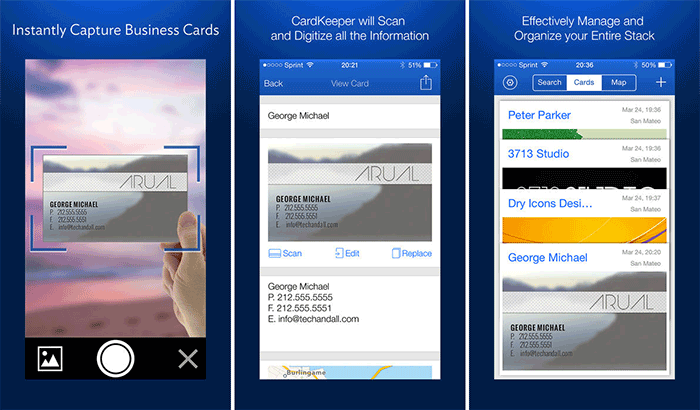 CardKeeper Business Card Readers and Scanners iPhone App Screenshot