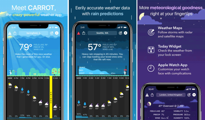 Carrot Weather Siri Shortcuts Supported iPhone and iPad App Screenshot