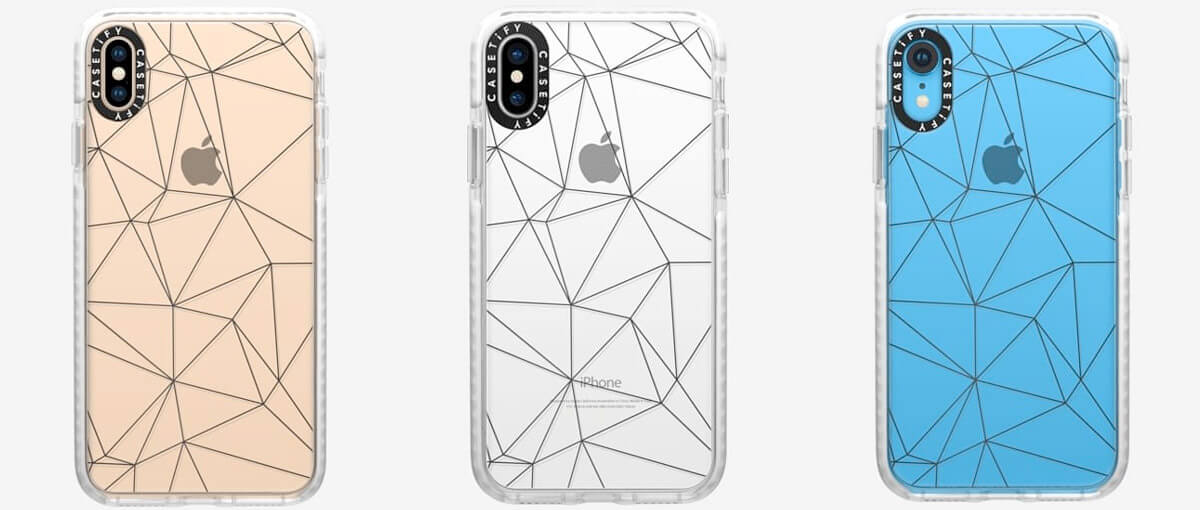 Casetify Geometric lines iPhone Xs Max, Xs, and iPhone XR Clear Cases