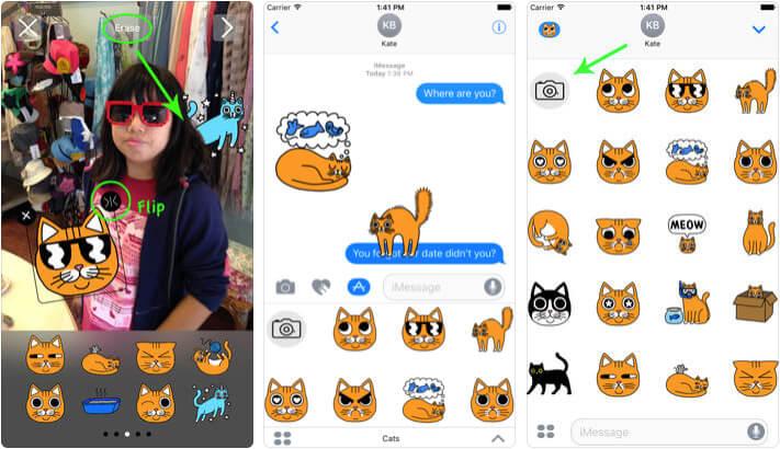 Cat Stickers for Messages & Photos iMessage App Screenshot