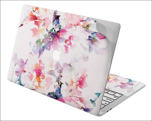 Cavka Paint White Flowers Pink Skin for 16 inch MacBook Pro