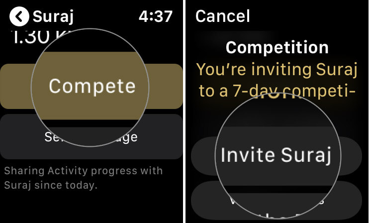 Challenge a Friend to Compete with You In A Seven-Day Competition from Apple Watch
