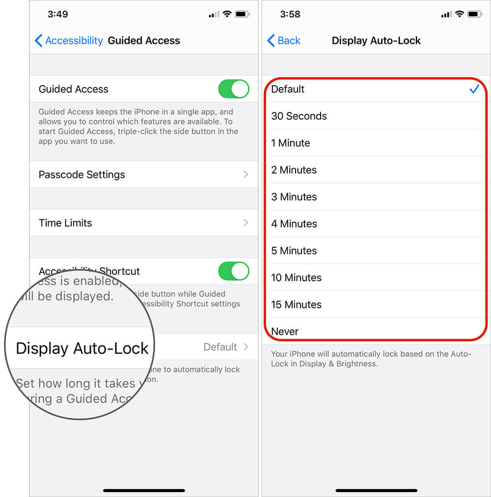 Change Auto Lock Settings in Guided Access on iPhone