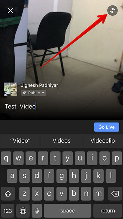 Change Camera for Video for Facebook on iPhone