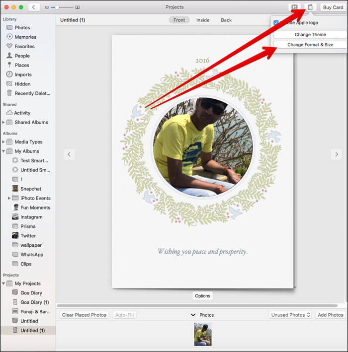 Change Card Format in Photos App on Mac