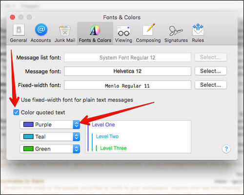 Change Colors of Email in Mac Mail App