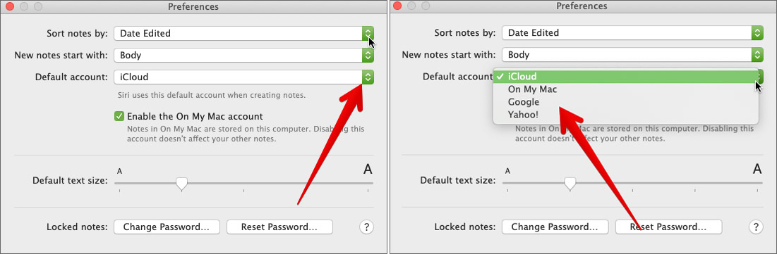 Change Default Account in Notes App on Mac