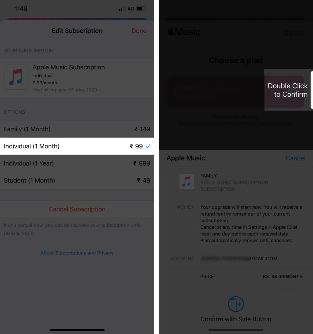 Change Family Plan to Individual Plan in Apple Music App