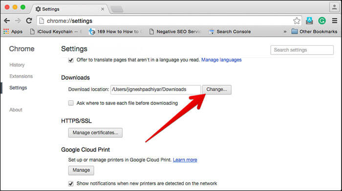 Change File Download Location for Chrome on Mac