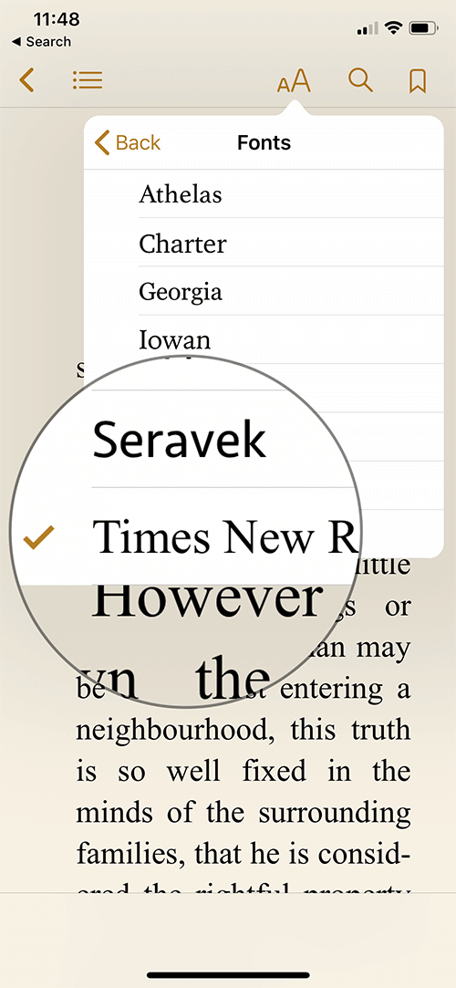 Change Font Style in iBooks on iPhone or iPad