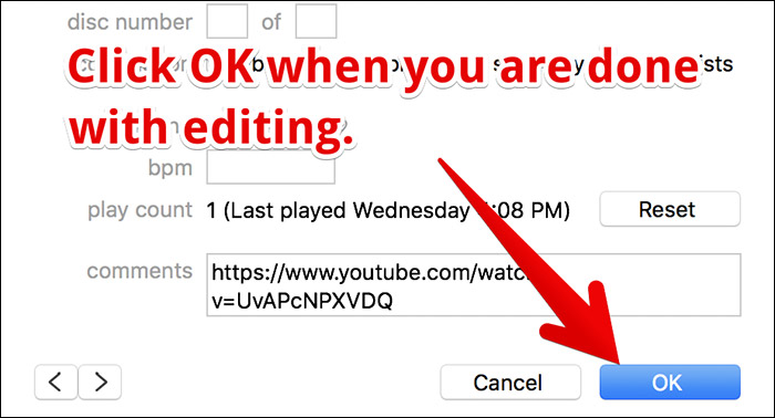 Change Metadata of Song in iTunes on Mac or Windows PC