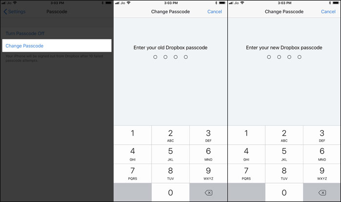 Change Passcode for Dropbox App on iPhone and Android