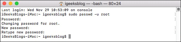 Change Root User Password on Mac Using Terminal