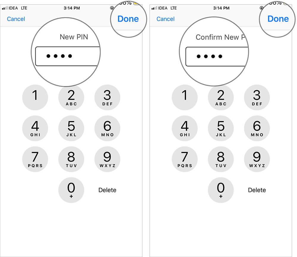 Change SIM PIN Enter New SIM PIN on iPhone