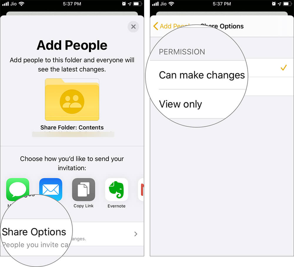 Change Share Options or PERMISSION to share Folders in Notes App in iPhone