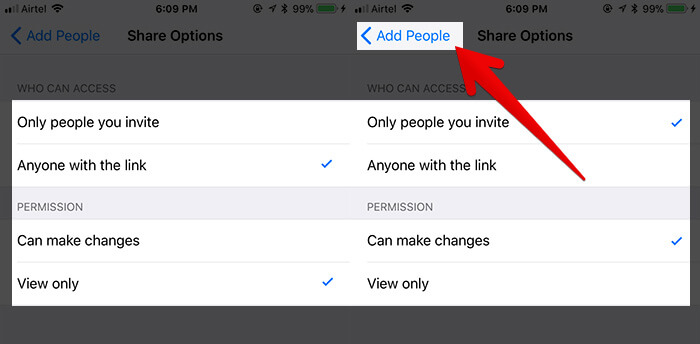 Change Sharing Options in iOS 11 Files App