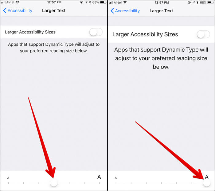 Change Text Size on iPhone