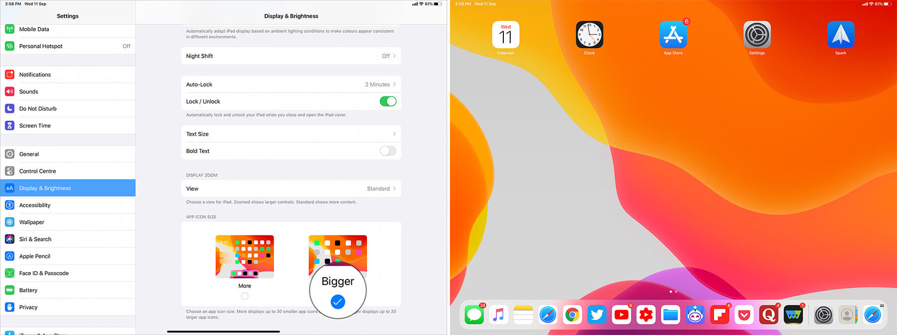 Change iPad App Icon Size More to Bigger in iPadOS