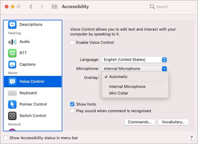 Change the Voice Control microphone on Mac