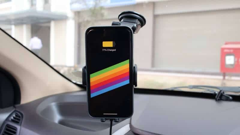 Charging iPhone with Fiora Wireless Car Charger