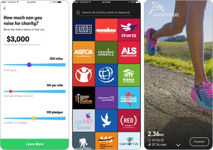 Charity Miles iPhone Workout App Screenshot