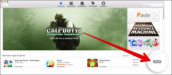 Check App Store Balance in Mac App Store