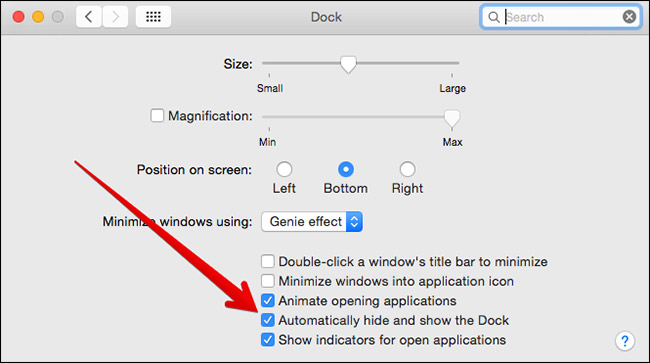 Check Automatically Hide and Show the Dock in Mac System Preferences