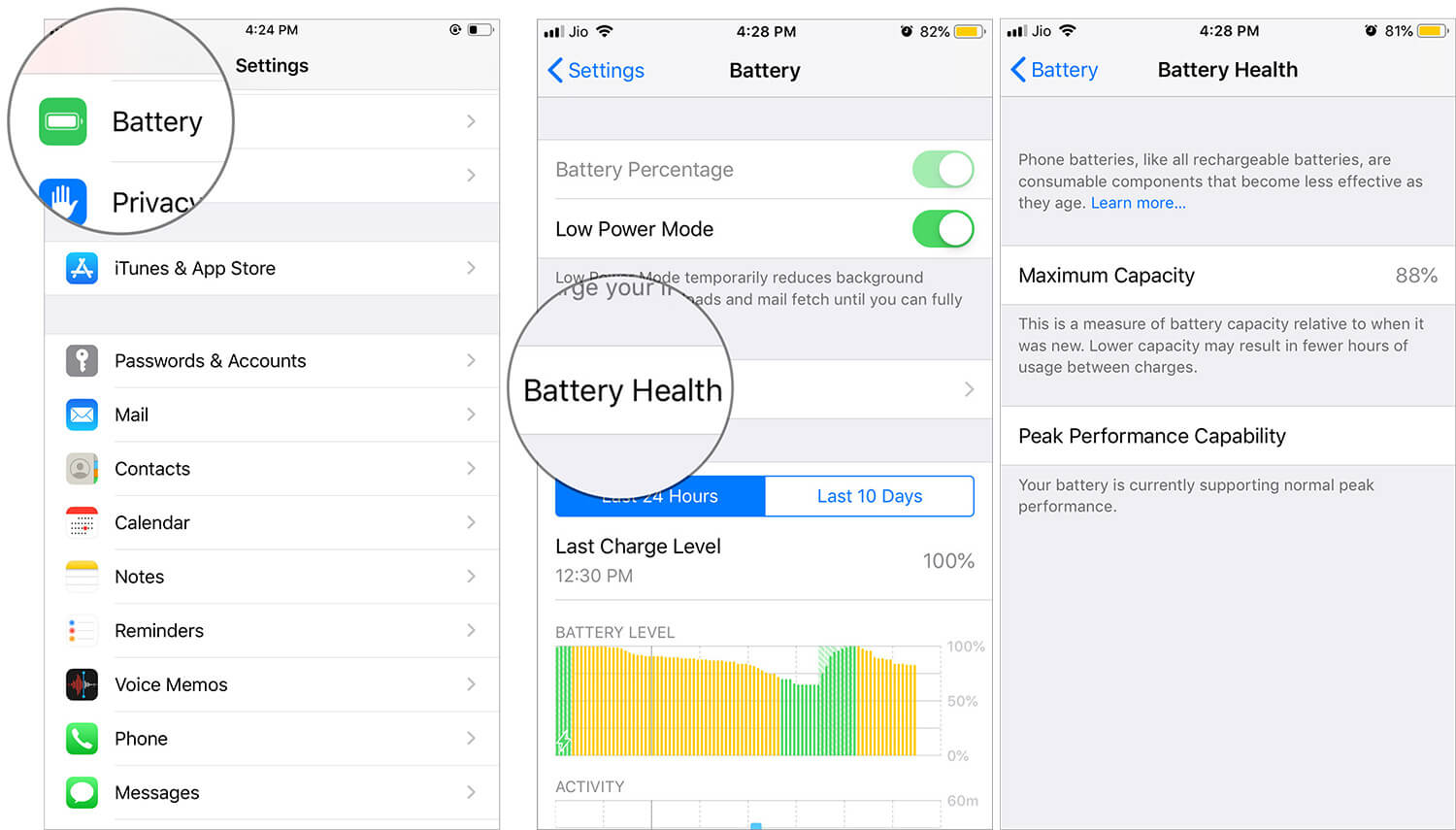 Check Battery Health of your iPhone