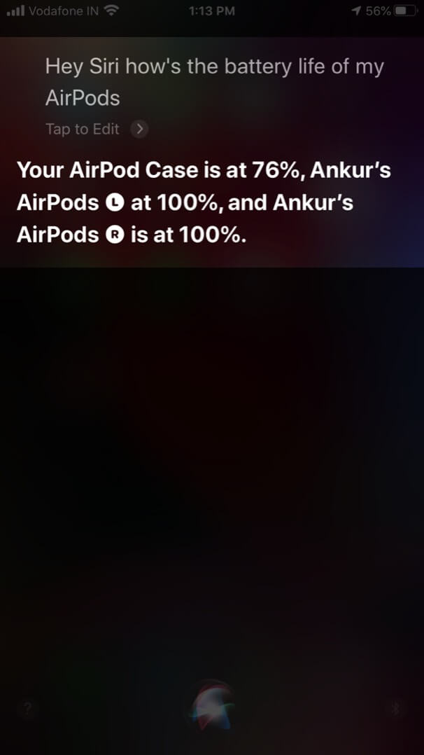 Check Battery Life of AirPods and Charging Case Using Siri on iPhone