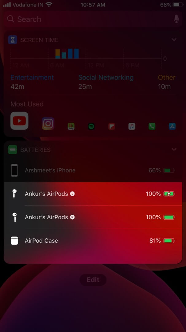 Check Battery Life of Individual AirPods and Charging Case Using Battery Widget
