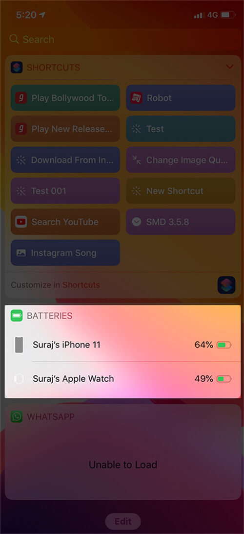 Check Battery Percentage in Today View on iPhone