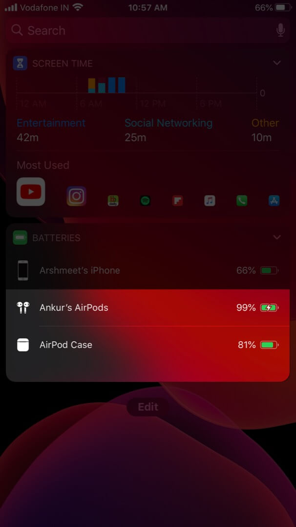 Check Charging Status of AirPods and Case with Battery Widget on iPhone